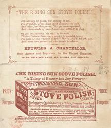 Advert for Rising Sun, stove polish, reverse side